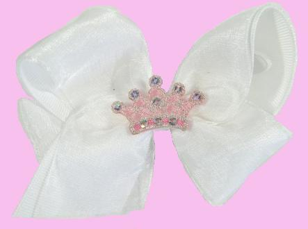 Royal Crown Hair Bow - White