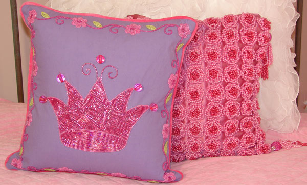 Ultra Beaded Pink Crown Pillow