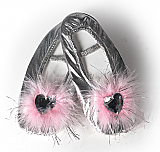Jewel Heart Silver Lame Ballet Slippers
