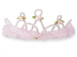 Pearl and Marabou Tiara - Light Pink