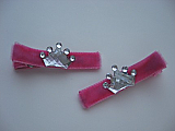 Pink Velvet Crown Clips